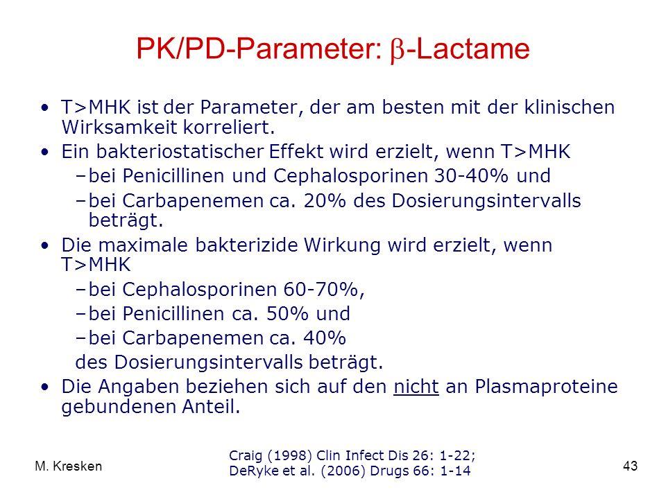 43M. Kresken PK/PD-Parameter: -Lactame T>MHK ist der Parameter, der am besten mit der klinischen Wirksamkeit korreliert. Ein bakteriostatischer Effekt