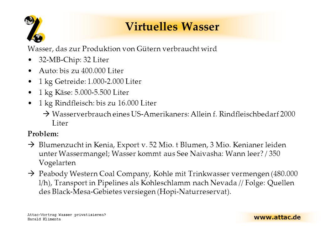 www.attac.de Attac-Vortrag Wasser privatisieren? Harald Klimenta Virtuelles Wasser Wasser, das zur Produktion von Gütern verbraucht wird 32-MB-Chip: 3