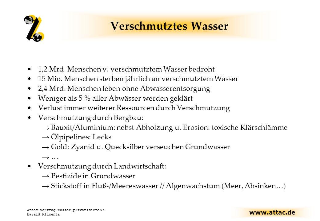 www.attac.de Attac-Vortrag Wasser privatisieren.Harald Klimenta Verschmutztes Wasser 1,2 Mrd.