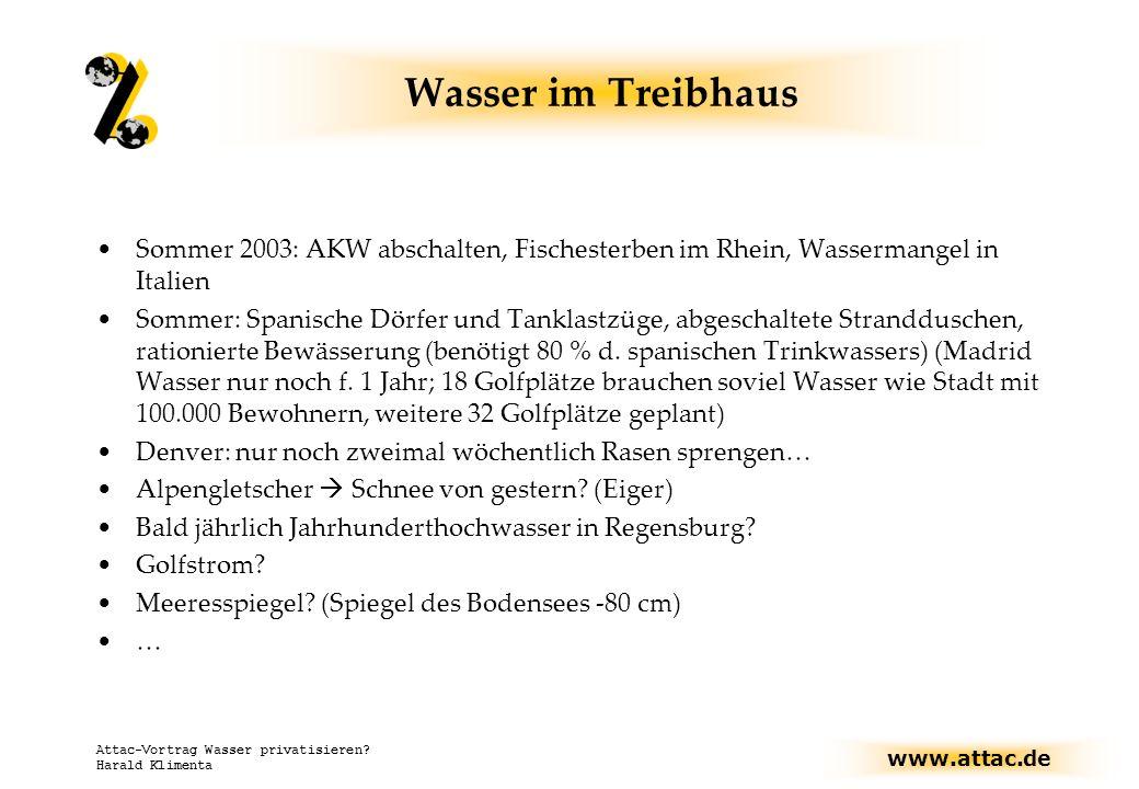 www.attac.de Attac-Vortrag Wasser privatisieren? Harald Klimenta Wasser im Treibhaus Sommer 2003: AKW abschalten, Fischesterben im Rhein, Wassermangel
