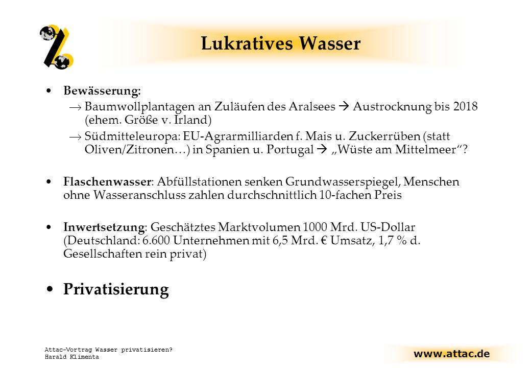 www.attac.de Attac-Vortrag Wasser privatisieren.