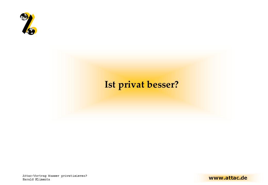 www.attac.de Attac-Vortrag Wasser privatisieren? Harald Klimenta Ist privat besser?
