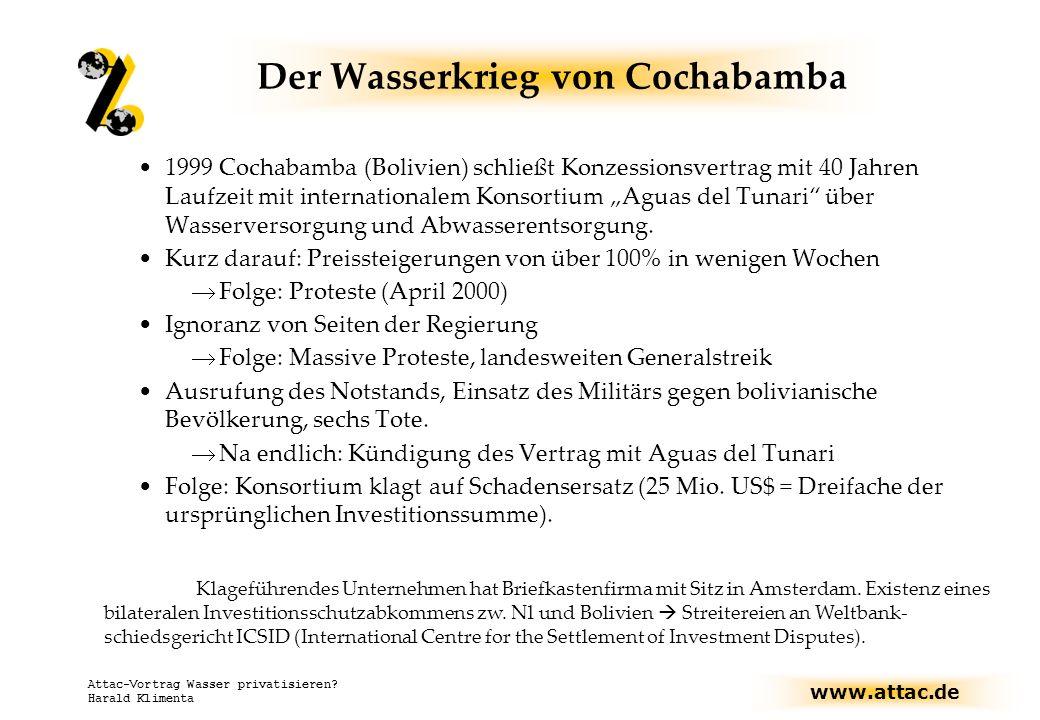 www.attac.de Attac-Vortrag Wasser privatisieren? Harald Klimenta Der Wasserkrieg von Cochabamba 1999 Cochabamba (Bolivien) schließt Konzessionsvertrag