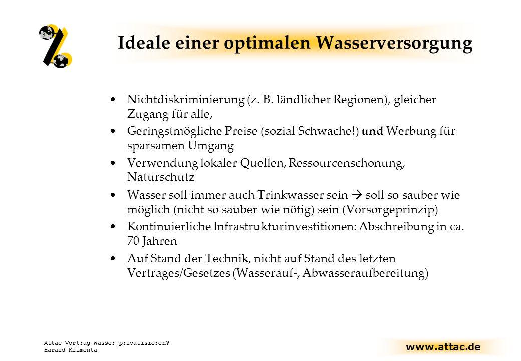 www.attac.de Attac-Vortrag Wasser privatisieren? Harald Klimenta Ideale einer optimalen Wasserversorgung Nichtdiskriminierung (z. B. ländlicher Region