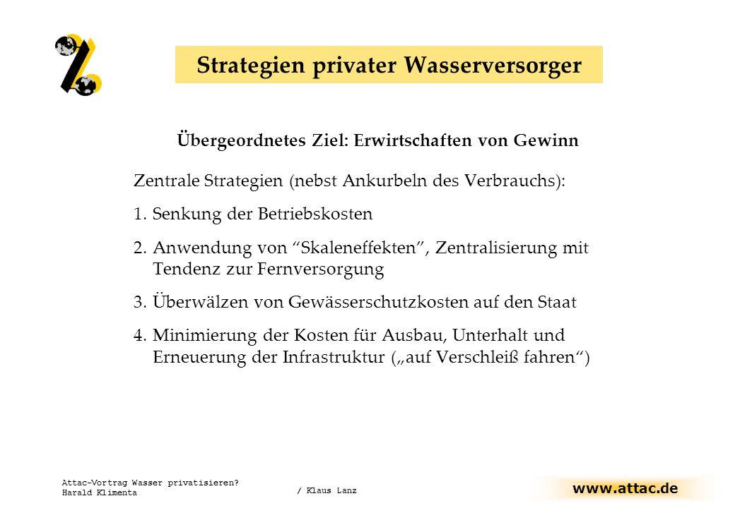 www.attac.de Attac-Vortrag Wasser privatisieren? Harald Klimenta Übergeordnetes Ziel: Erwirtschaften von Gewinn Zentrale Strategien (nebst Ankurbeln d