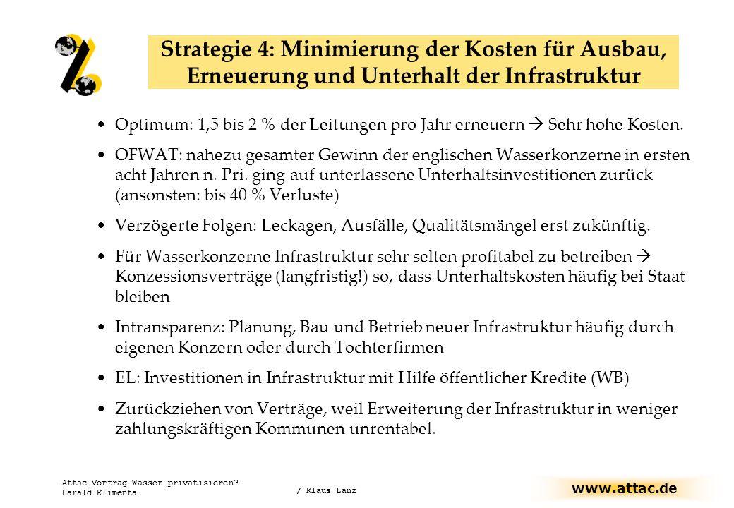 www.attac.de Attac-Vortrag Wasser privatisieren? Harald Klimenta Optimum: 1,5 bis 2 % der Leitungen pro Jahr erneuern Sehr hohe Kosten. OFWAT: nahezu