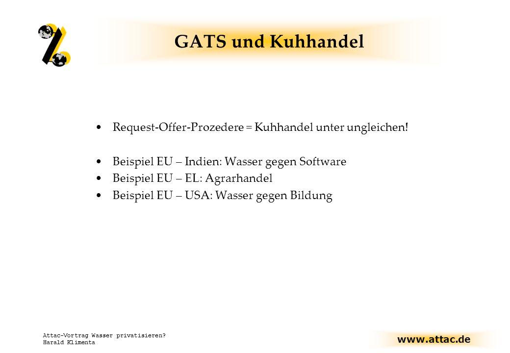 www.attac.de Attac-Vortrag Wasser privatisieren? Harald Klimenta GATS und Kuhhandel Request-Offer-Prozedere = Kuhhandel unter ungleichen! Beispiel EU