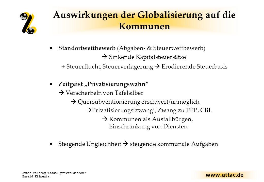 www.attac.de Attac-Vortrag Wasser privatisieren? Harald Klimenta Auswirkungen der Globalisierung auf die Kommunen Standortwettbewerb (Abgaben- & Steue