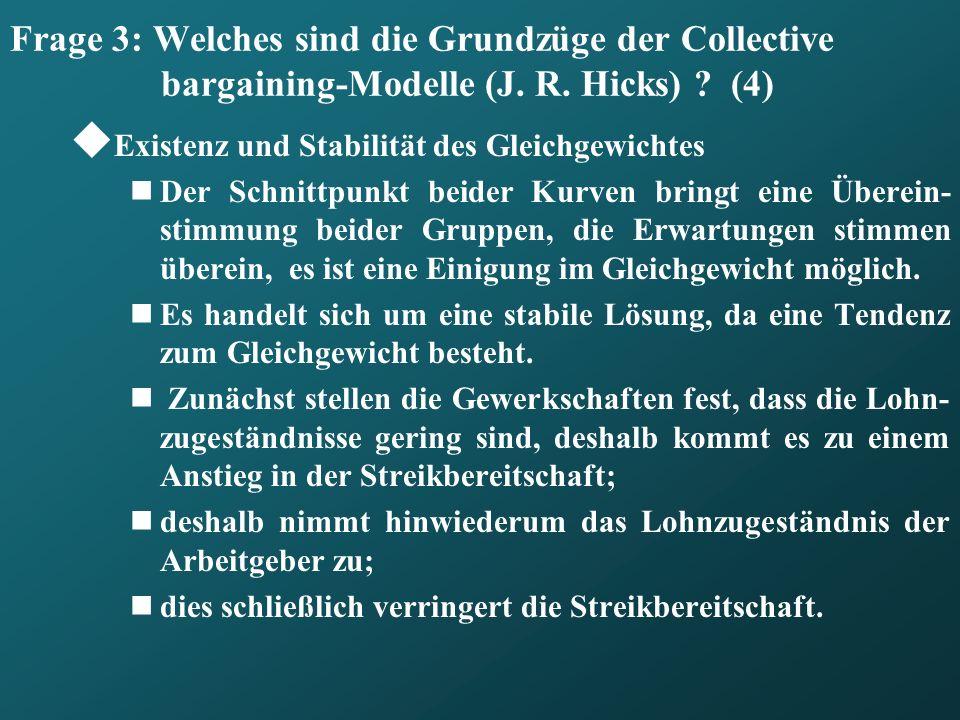 Frage 3: Welches sind die Grundzüge der Collective bargaining-Modelle (J. R. Hicks) ? (4) Existenz und Stabilität des Gleichgewichtes Der Schnittpunkt