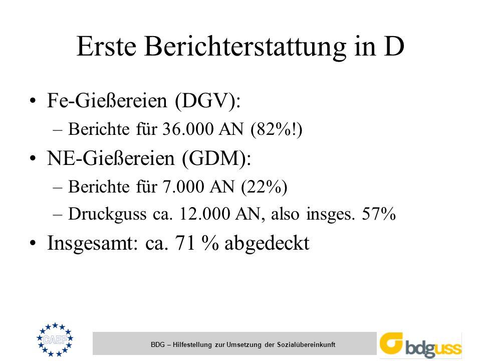 BDG – Hilfestellung zur Umsetzung der Sozialübereinkunft Erste Berichterstattung in D Fe-Gießereien (DGV): –Berichte für 36.000 AN (82%!) NE-Gießereie