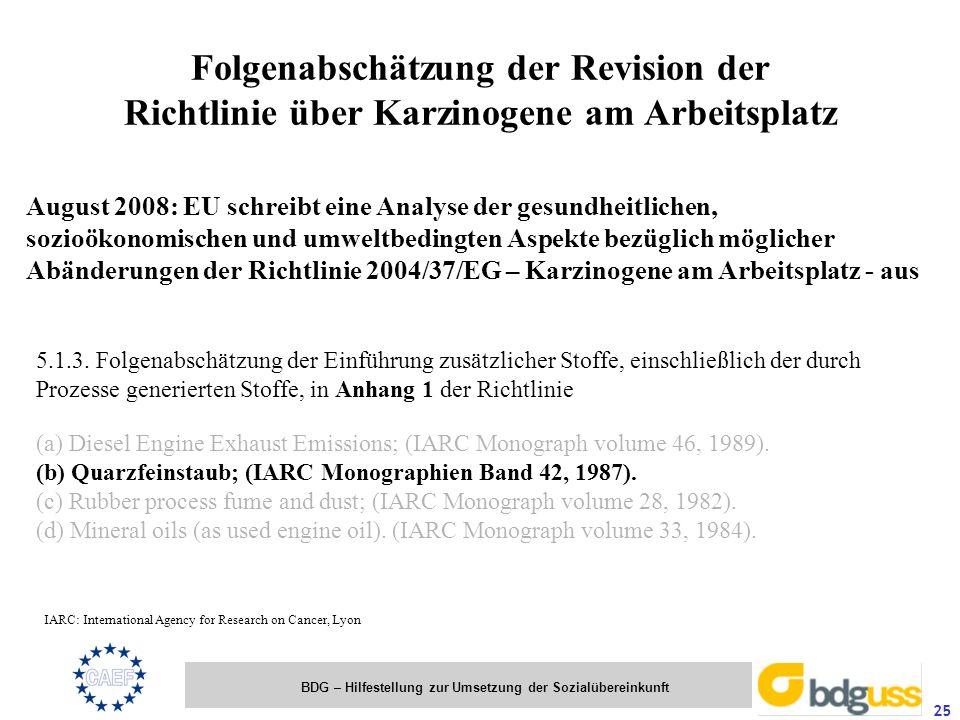 BDG – Hilfestellung zur Umsetzung der Sozialübereinkunft 25 Folgenabschätzung der Revision der Richtlinie über Karzinogene am Arbeitsplatz 5.1.3. Folg