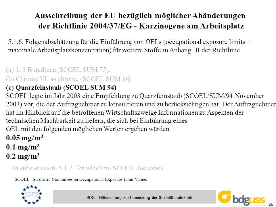 BDG – Hilfestellung zur Umsetzung der Sozialübereinkunft 26 Ausschreibung der EU bezüglich möglicher Abänderungen der Richtlinie 2004/37/EG - Karzinog