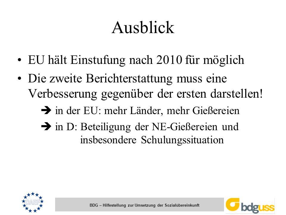 BDG – Hilfestellung zur Umsetzung der Sozialübereinkunft Ausblick EU hält Einstufung nach 2010 für möglich Die zweite Berichterstattung muss eine Verb