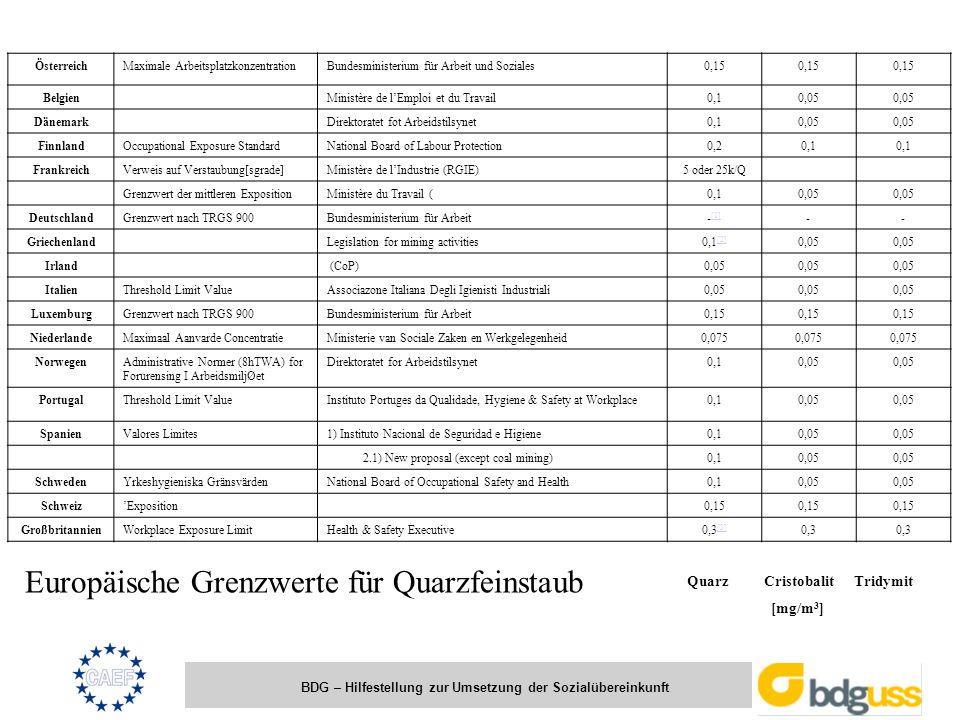 BDG – Hilfestellung zur Umsetzung der Sozialübereinkunft ÖsterreichMaximale ArbeitsplatzkonzentrationBundesministerium für Arbeit und Soziales0,15 Bel