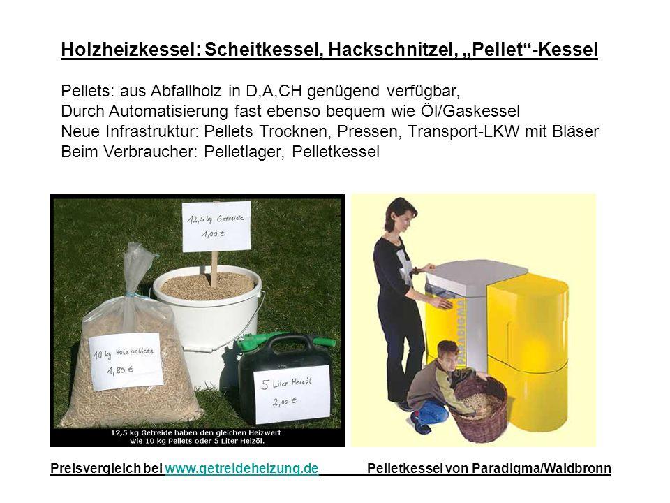 Holzheizkessel: Scheitkessel, Hackschnitzel, Pellet-Kessel Pellets: aus Abfallholz in D,A,CH genügend verfügbar, Durch Automatisierung fast ebenso beq