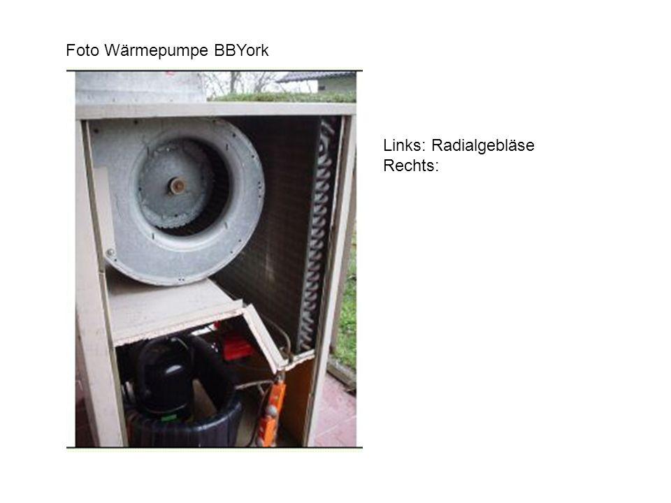 Foto Wärmepumpe BBYork Links: Radialgebläse Rechts: