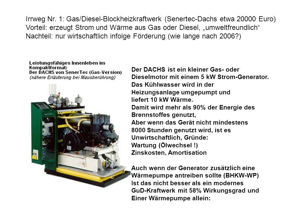 Irrweg Nr. 1: Gas/Diesel-Blockheizkraftwerk (Senertec-Dachs etwa 20000 Euro) Vorteil: erzeugt Strom und Wärme aus Gas oder Diesel, umweltfreundlich Na