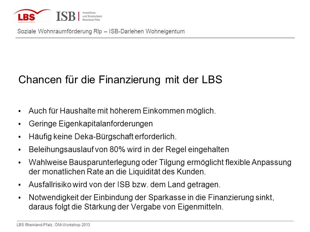 LBS Rheinland-Pfalz, ÖMi-Workshop 2013 Soziale Wohnraumförderung Rlp – ISB-Darlehen Wohneigentum Chancen für die Finanzierung mit der LBS Auch für Hau