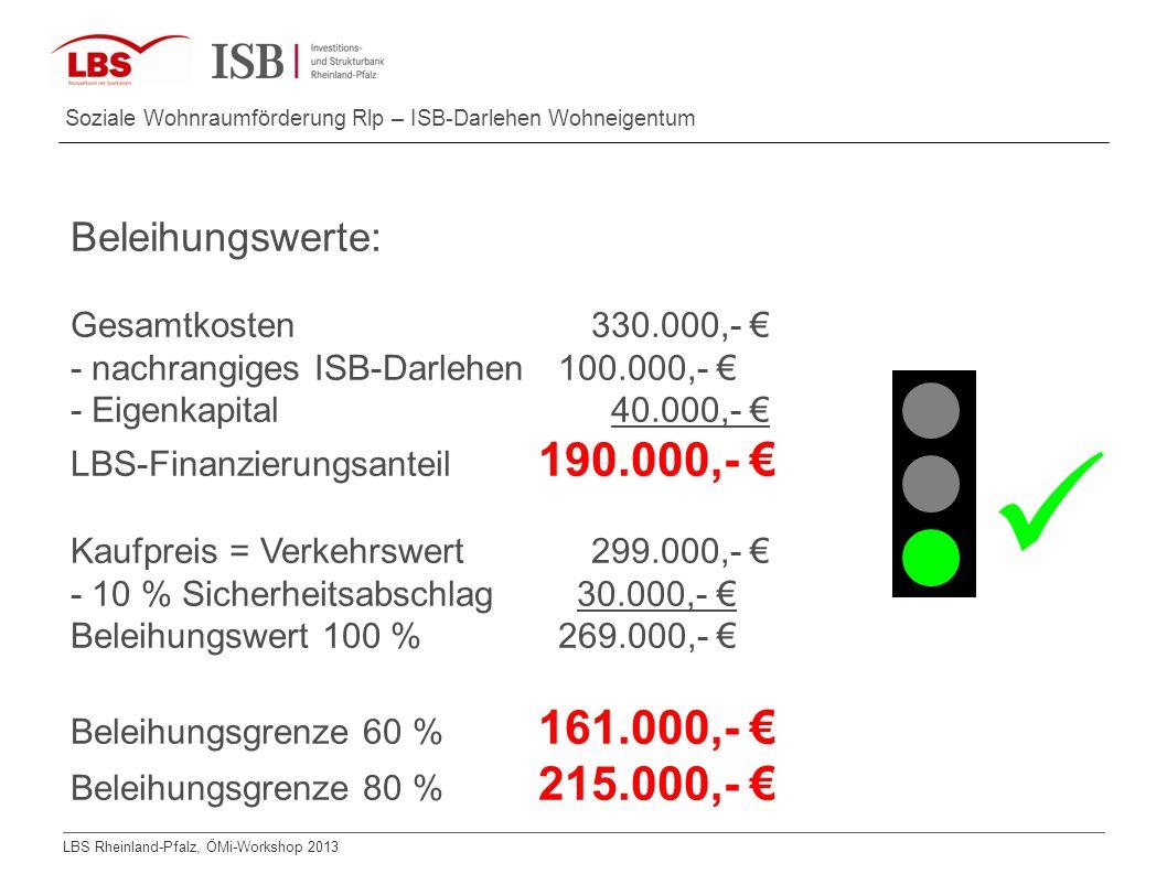 LBS Rheinland-Pfalz, ÖMi-Workshop 2013 Soziale Wohnraumförderung Rlp – ISB-Darlehen Wohneigentum Beleihungswerte: Gesamtkosten330.000,- - nachrangiges