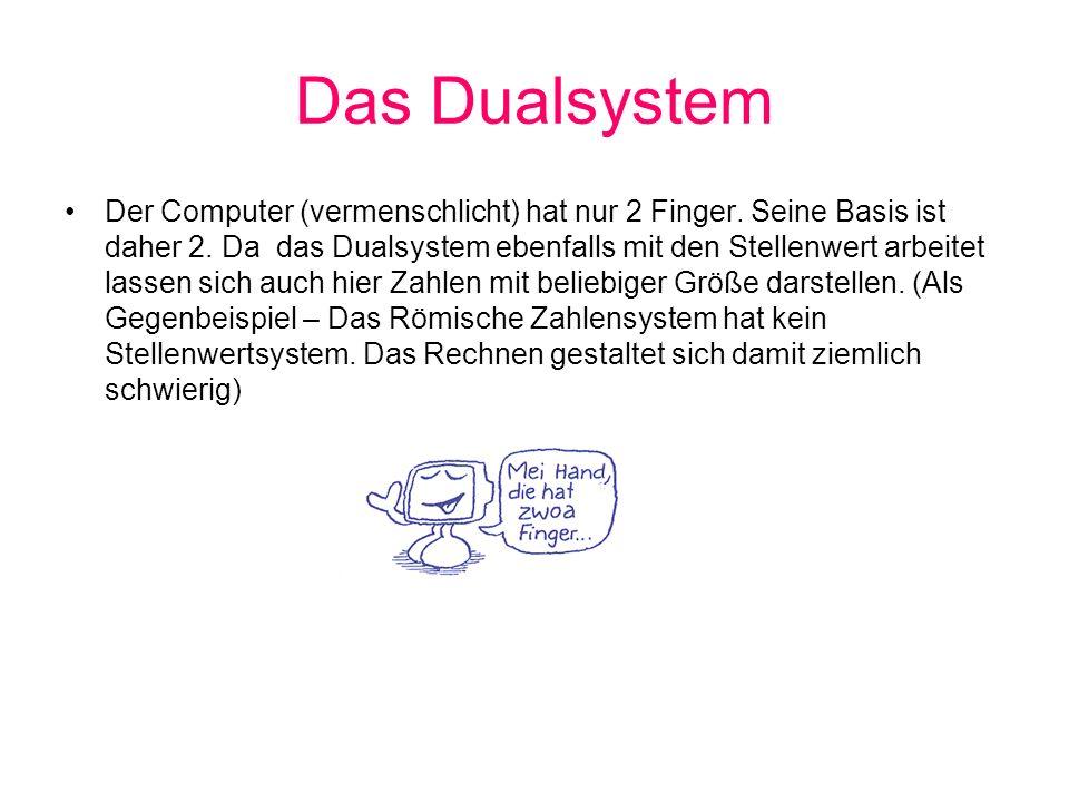 Das Dualsystem 2 Es lassen sich mit der Basis 2 nur zwei Zustände definieren die aber verschieden definiert werden können Strom<> kein Strom Wahr <> Falsch magnetisiert <> nicht magnetisiert Low <> High Da wir mit Zahlen arbeiten wollen 0 und 1