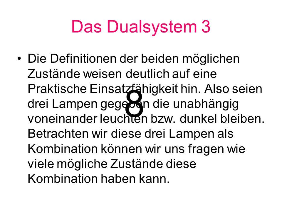 Das Dualsystem 3 Die Definitionen der beiden möglichen Zustände weisen deutlich auf eine Praktische Einsatzfähigkeit hin. Also seien drei Lampen gegeb