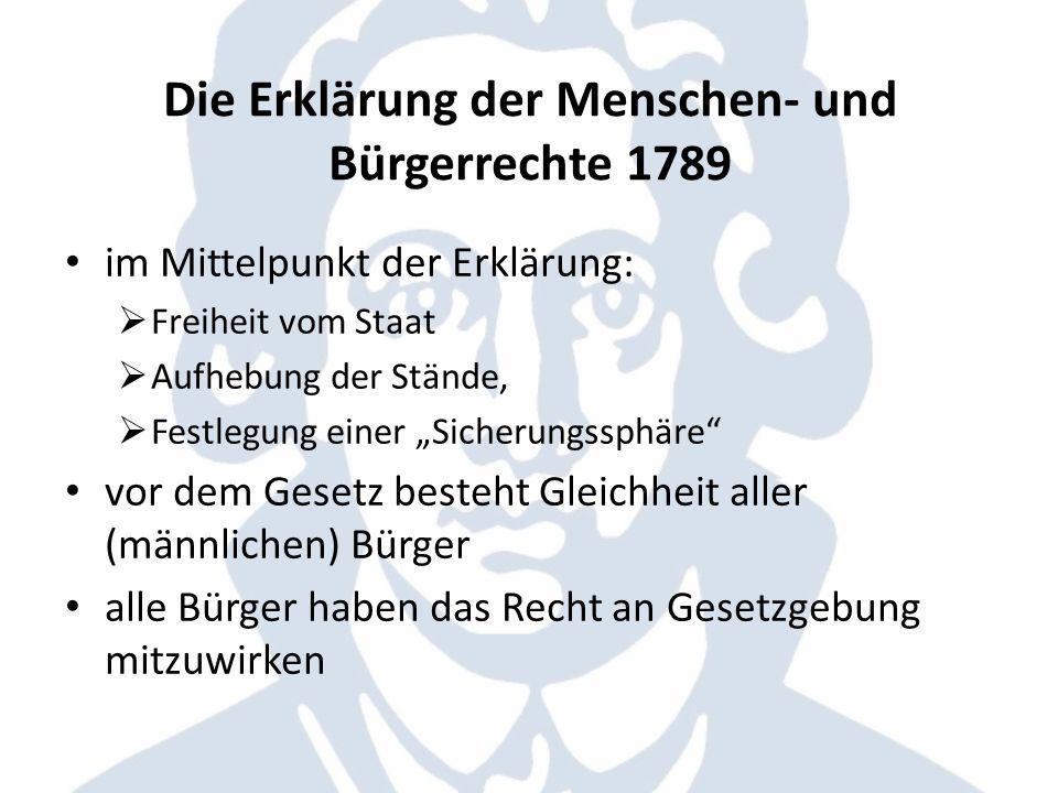 Die Erklärung der Menschen- und Bürgerrechte 1789 im Mittelpunkt der Erklärung: Freiheit vom Staat Aufhebung der Stände, Festlegung einer Sicherungssp