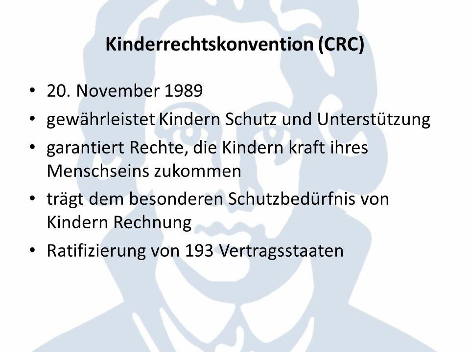 Kinderrechtskonvention (CRC) 20. November 1989 gewährleistet Kindern Schutz und Unterstützung garantiert Rechte, die Kindern kraft ihres Menschseins z