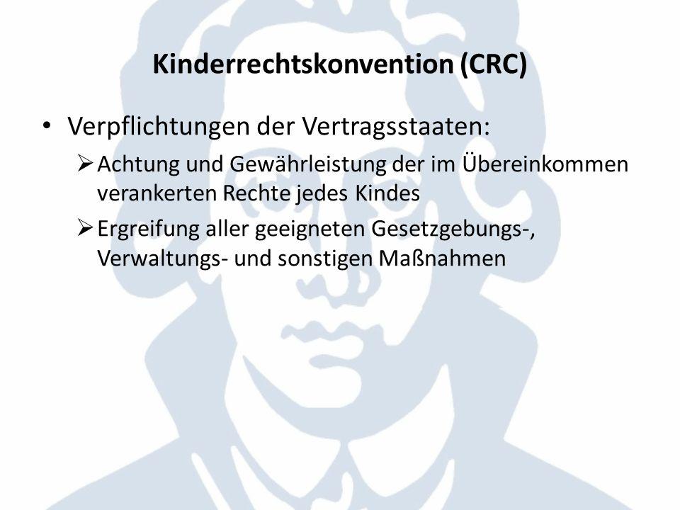 Kinderrechtskonvention (CRC) Verpflichtungen der Vertragsstaaten: Achtung und Gewährleistung der im Übereinkommen verankerten Rechte jedes Kindes Ergr