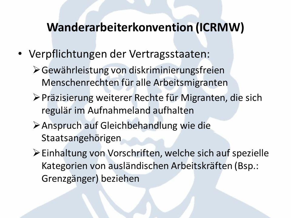 Wanderarbeiterkonvention (ICRMW) Verpflichtungen der Vertragsstaaten: Gewährleistung von diskriminierungsfreien Menschenrechten für alle Arbeitsmigran
