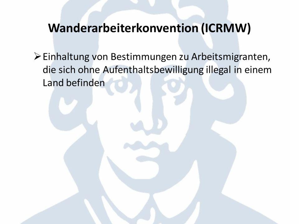 Wanderarbeiterkonvention (ICRMW) Einhaltung von Bestimmungen zu Arbeitsmigranten, die sich ohne Aufenthaltsbewilligung illegal in einem Land befinden