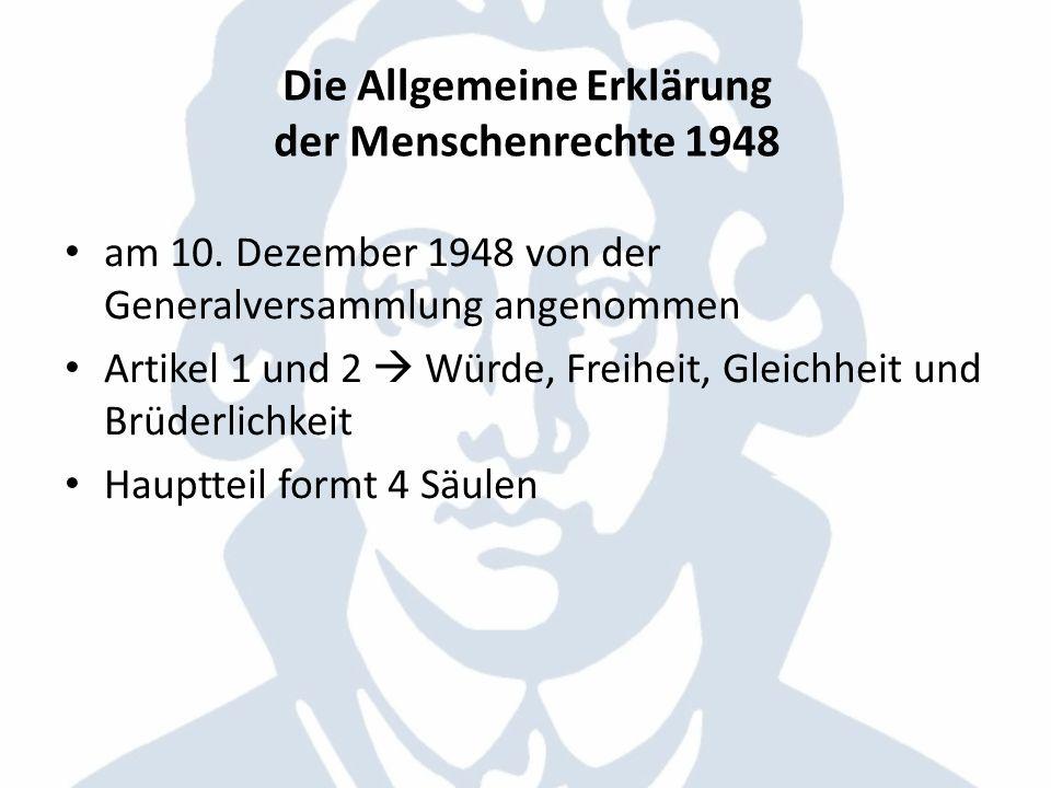 Die Allgemeine Erklärung der Menschenrechte 1948 am 10. Dezember 1948 von der Generalversammlung angenommen Artikel 1 und 2 Würde, Freiheit, Gleichhei
