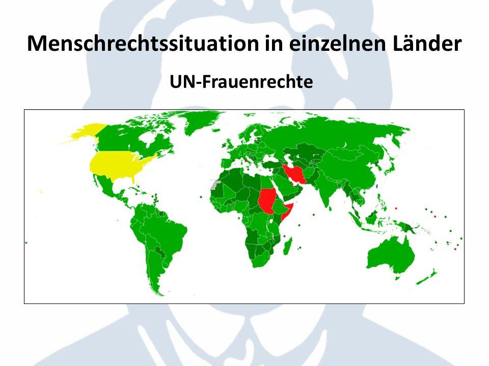 UN-Frauenrechte Menschrechtssituation in einzelnen Länder