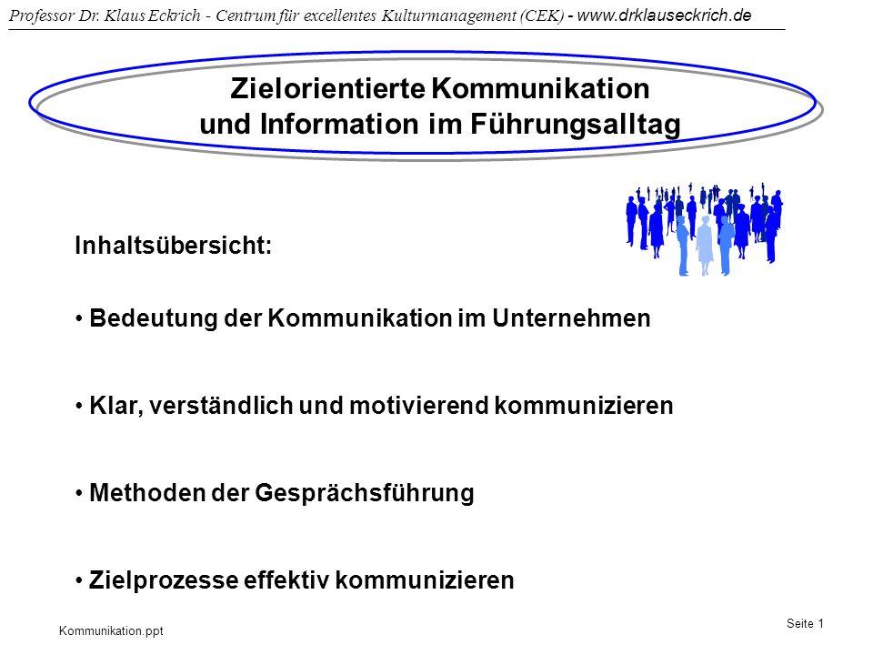 Kommunikation.ppt Professor Dr. Klaus Eckrich - Centrum für excellentes Kulturmanagement (CEK) - www.drklauseckrich.de Seite 1 Zielorientierte Kommuni