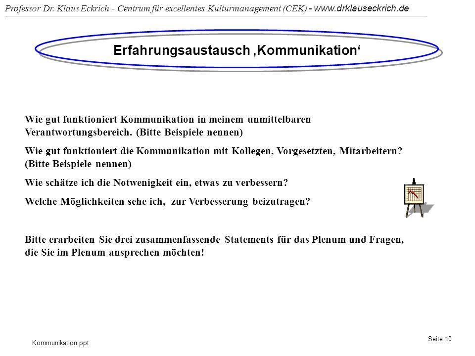 Kommunikation.ppt Professor Dr. Klaus Eckrich - Centrum für excellentes Kulturmanagement (CEK) - www.drklauseckrich.de Seite 10 Erfahrungsaustausch Ko