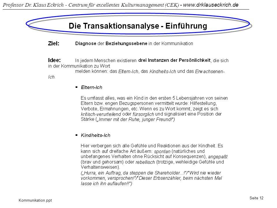 Kommunikation.ppt Professor Dr. Klaus Eckrich - Centrum für excellentes Kulturmanagement (CEK) - www.drklauseckrich.de Seite 12 Die Transaktionsanalys