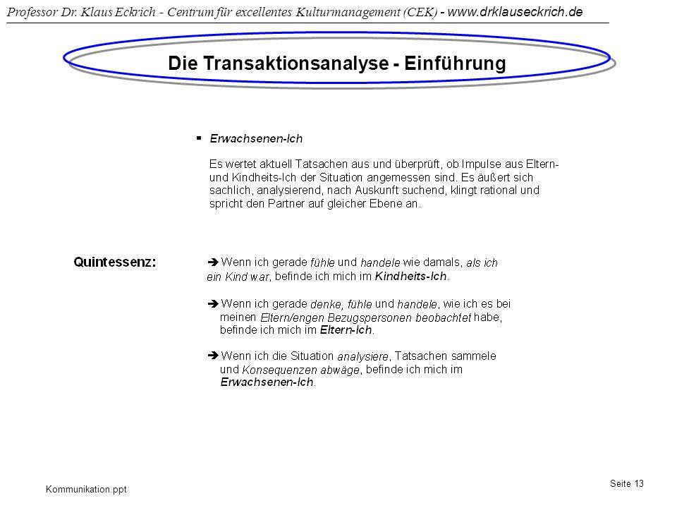 Kommunikation.ppt Professor Dr. Klaus Eckrich - Centrum für excellentes Kulturmanagement (CEK) - www.drklauseckrich.de Seite 13 Die Transaktionsanalys