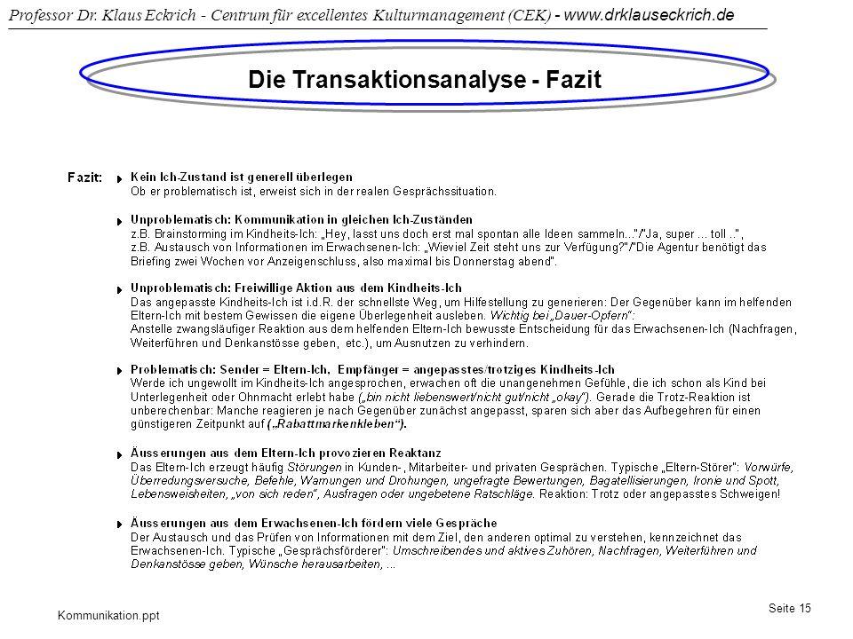 Kommunikation.ppt Professor Dr. Klaus Eckrich - Centrum für excellentes Kulturmanagement (CEK) - www.drklauseckrich.de Seite 15 Die Transaktionsanalys