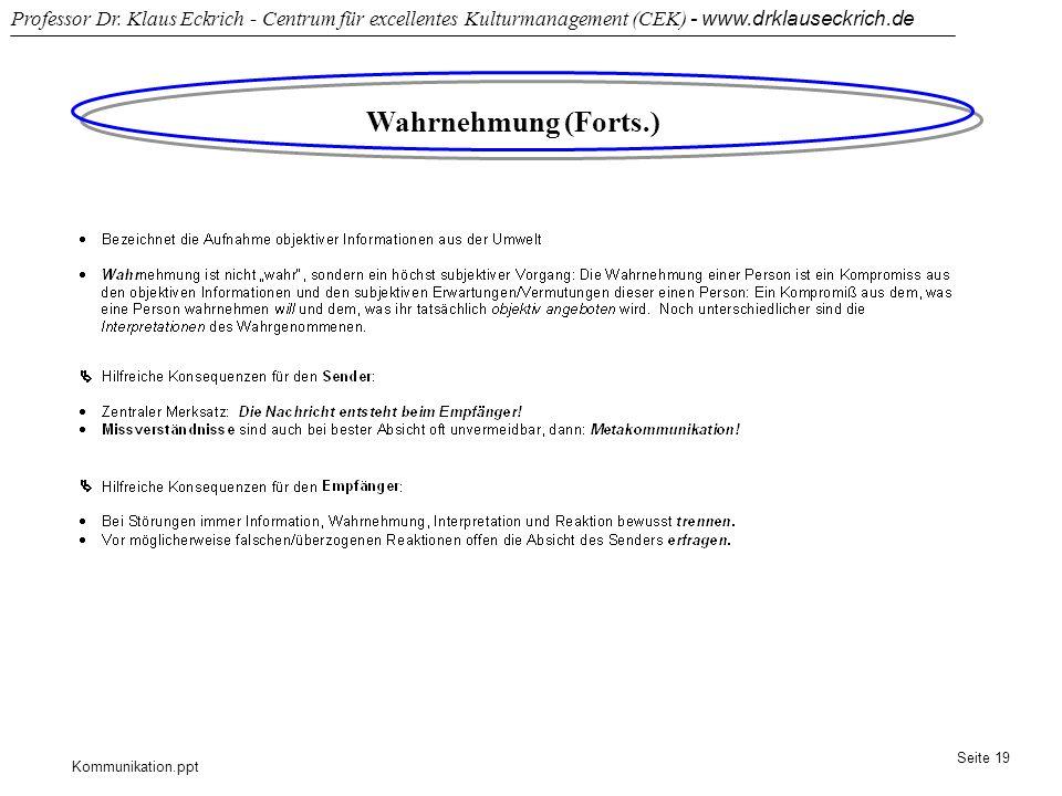 Kommunikation.ppt Professor Dr. Klaus Eckrich - Centrum für excellentes Kulturmanagement (CEK) - www.drklauseckrich.de Seite 19 Wahrnehmung (Forts.)