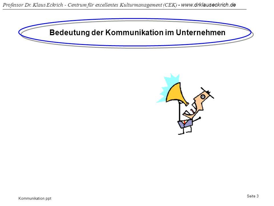Kommunikation.ppt Professor Dr. Klaus Eckrich - Centrum für excellentes Kulturmanagement (CEK) - www.drklauseckrich.de Seite 3 Bedeutung der Kommunika