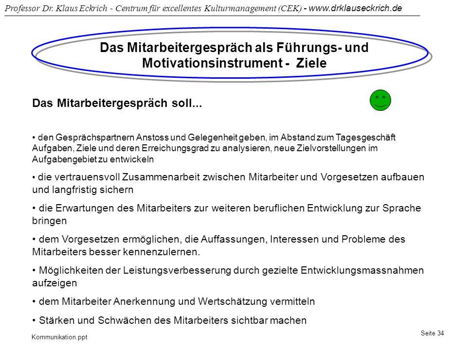 Kommunikation.ppt Professor Dr. Klaus Eckrich - Centrum für excellentes Kulturmanagement (CEK) - www.drklauseckrich.de Seite 34 Das Mitarbeitergespräc