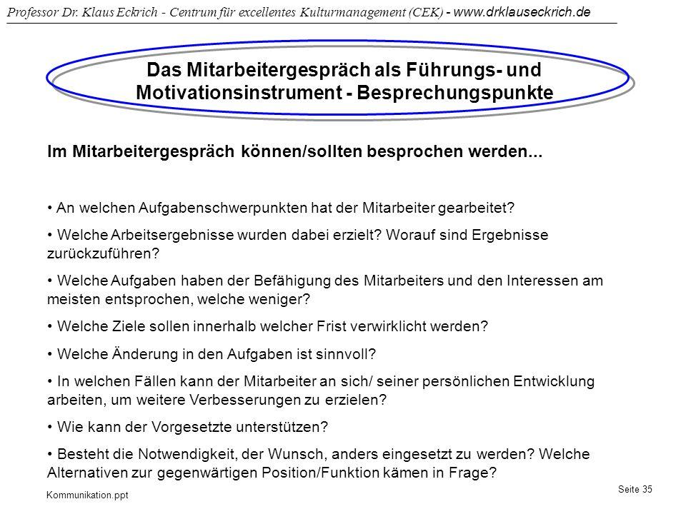 Kommunikation.ppt Professor Dr. Klaus Eckrich - Centrum für excellentes Kulturmanagement (CEK) - www.drklauseckrich.de Seite 35 Das Mitarbeitergespräc