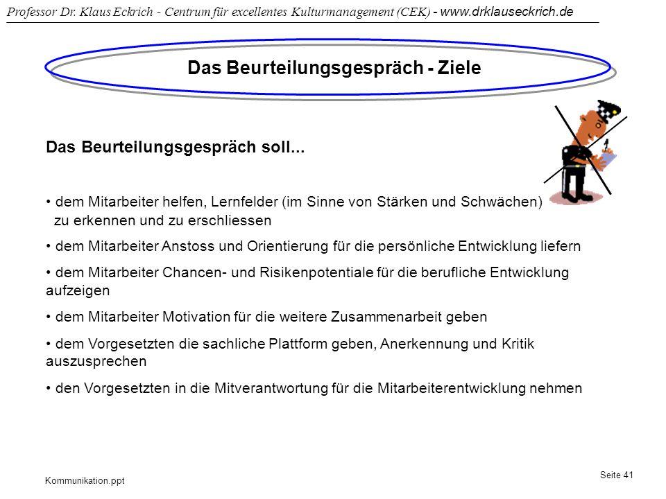 Kommunikation.ppt Professor Dr. Klaus Eckrich - Centrum für excellentes Kulturmanagement (CEK) - www.drklauseckrich.de Seite 41 Das Beurteilungsgesprä