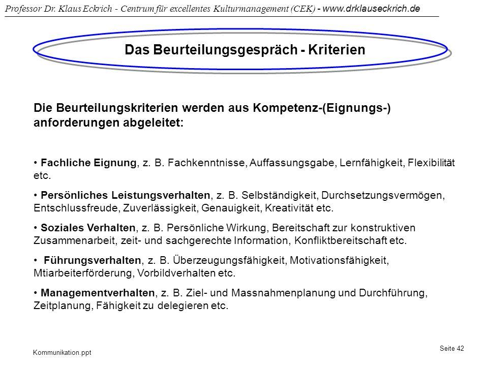 Kommunikation.ppt Professor Dr. Klaus Eckrich - Centrum für excellentes Kulturmanagement (CEK) - www.drklauseckrich.de Seite 42 Das Beurteilungsgesprä