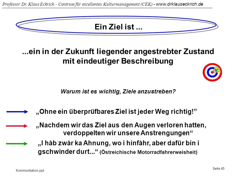 Kommunikation.ppt Professor Dr. Klaus Eckrich - Centrum für excellentes Kulturmanagement (CEK) - www.drklauseckrich.de Seite 45 Ein Ziel ist......ein
