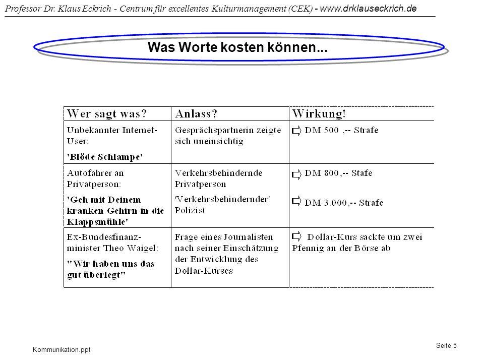 Kommunikation.ppt Professor Dr. Klaus Eckrich - Centrum für excellentes Kulturmanagement (CEK) - www.drklauseckrich.de Seite 5 Was Worte kosten können