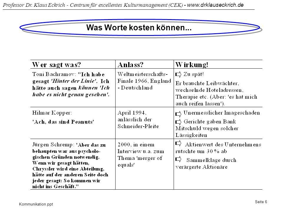 Kommunikation.ppt Professor Dr. Klaus Eckrich - Centrum für excellentes Kulturmanagement (CEK) - www.drklauseckrich.de Seite 6 Was Worte kosten können