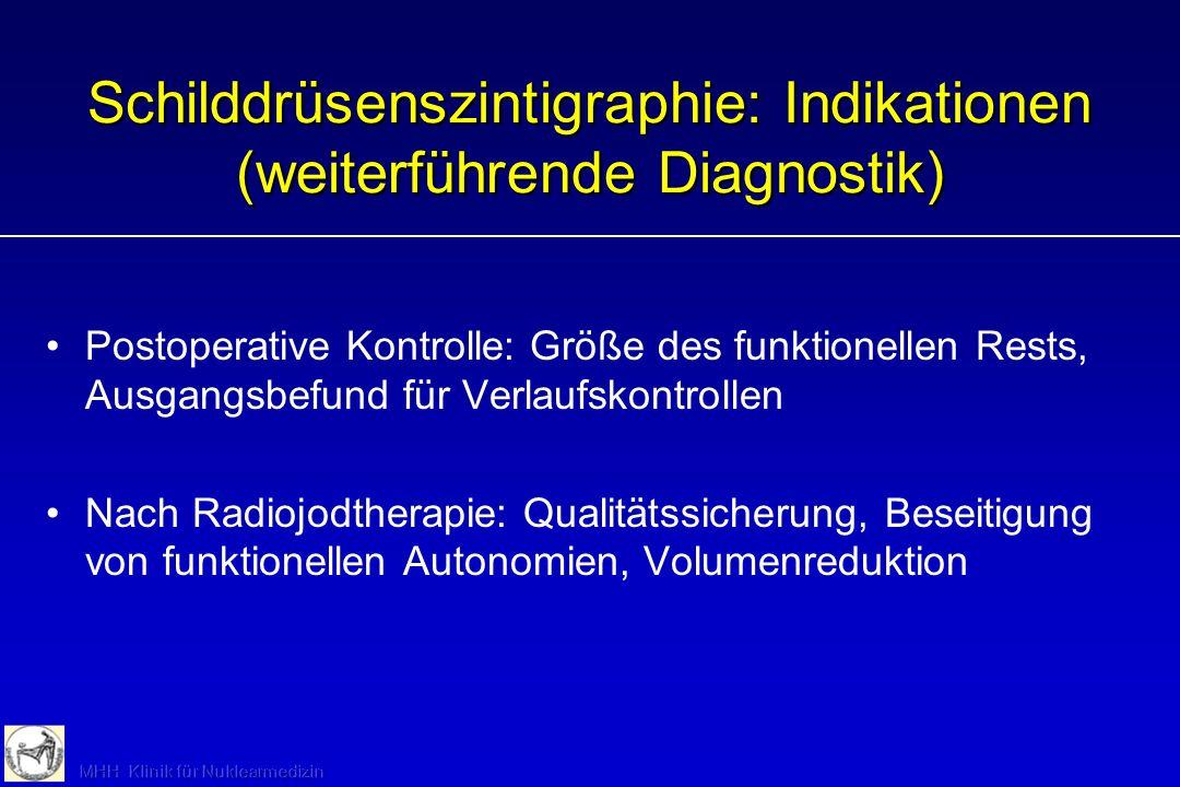 Prävalenz der SD-Autonomie bei Struma mit Euthyreose niedrigmittel/hoch 5 - 10%30 – 80 % Lebensalter 40 J undund Strumagrösse 50 ml undoder Strumaartd