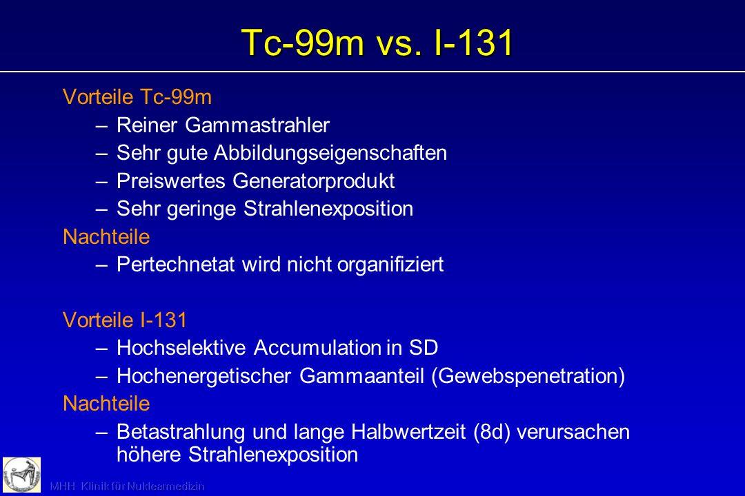 Schilddrüsenszintigraphie: Indikationen (weiterführende Diagnostik) Postoperative Kontrolle: Größe des funktionellen Rests, Ausgangsbefund für Verlauf