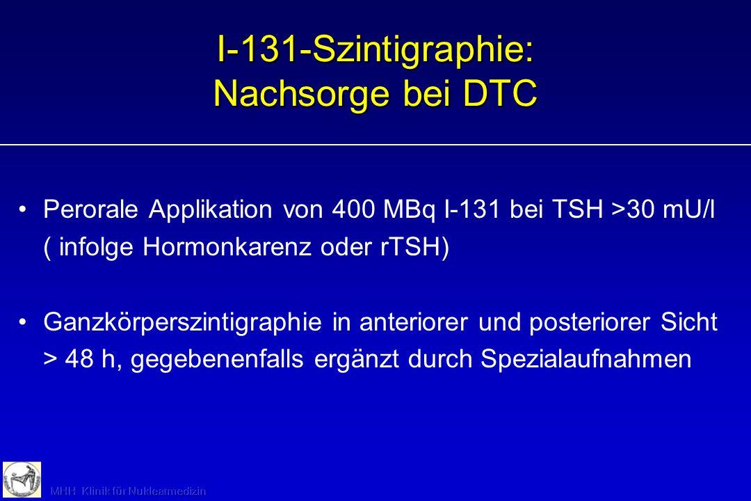 I-131 zur prätherapeutischen Dosimetrie (Radiojodtest) Perorale Applikation von 1 MBq I-131 Messung des thyreoidalen Uptake nach 2 h Messung des thyre