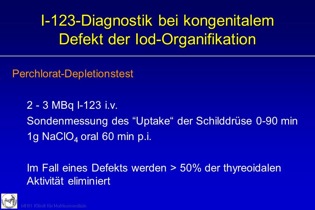 I-131-Szintigraphie: Nachsorge bei DTC Perorale Applikation von 400 MBq I-131 bei TSH >30 mU/l ( infolge Hormonkarenz oder rTSH) Ganzkörperszintigraph